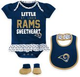 NFL St. Louis Rams Size 18M 3-Piece Girl Creeper, Bib, and Bootie Set