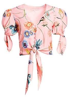 Borgo de Nor Women's Miranda Floral Silk Wrap Short-Sleeve Top