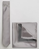Asos Wedding Tie And Pocket Square In Grey
