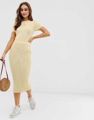 Asos Design DESIGN co-ord knitted midi skirt-Yellow
