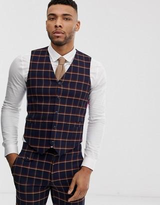ASOS DESIGN wedding skinny suit waistcoat in navy windowpane check
