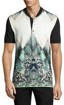 Versace Baroque Baseball-Collar Polo Shirt, Blue/Green