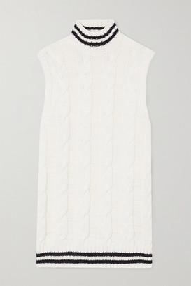 Ganni Striped Cable-knit Cotton-blend Turtleneck Tank - Ivory