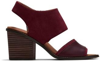 Toms Oxblood Suede Veg Tan Leather Women's Majorca Block Sandals