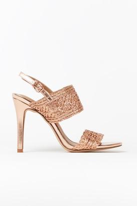 Wallis Rose Gold Cage Detail Strap Heels