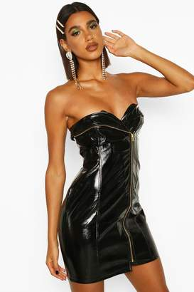 boohoo PU Belted Zip Mini Dress