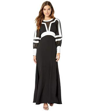 BCBGMAXAZRIA Long Sleeve Color Block Gown