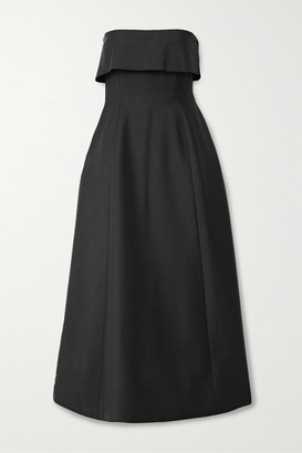 The Row Dario Strapless Mohair And Wool-blend Maxi Dress - Black