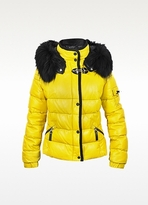 Yellow Leather Puffer Jacket w/Detachable Fur Hood