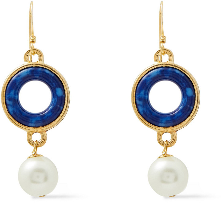 Kenneth Jay Lane 22-karat Gold-plated, Resin And Faux Pearl Earrings