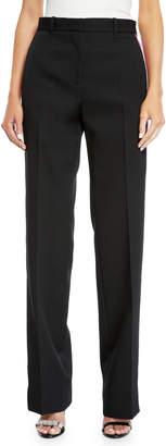 Calvin Klein Side-Stripe Straight-Leg Wool/Silk Pants