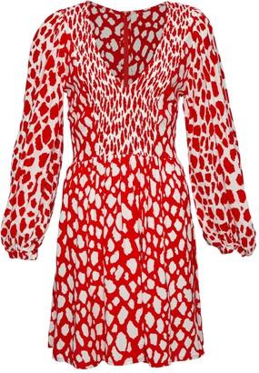 State Of Georgia The Swing Dress In Red Giraffe