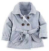 Carter's Hickory Stripe Denim Trench Coat in Blue