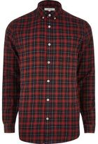 River Island MensRed casual check shirt