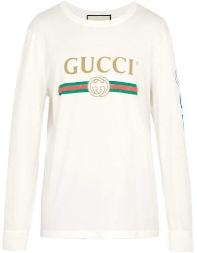Gucci Fake Logo Print Dragon Embroidered T Shirt - Mens - Cream
