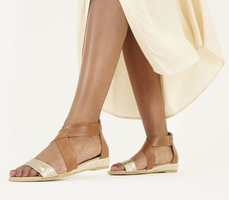 Office Sally Espadrille Wedge Sandals Tan And Gold