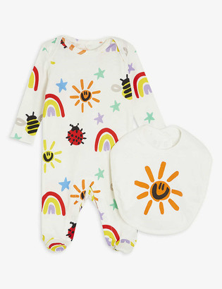 Stella McCartney Weather graphic-print cotton babygrow and bib set 1-6 months