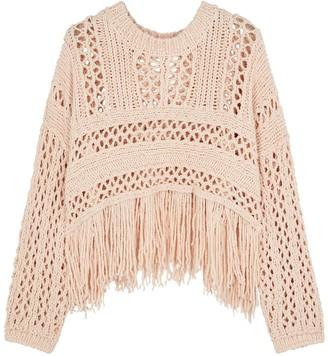 Free People Higher Love Blush Open-knit Jumper