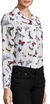 Equipment Slim Signature Butterfly-Print Silk Blouse