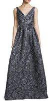 Theia Sleeveless V-Neck Metallic Floral-Jacquard Evening Gown