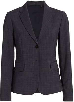 Theory Carissa Houndstooth Wool-Blend Blazer