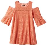 My Michelle Girls 7-16 Coral Cold Shoulder Crochet Lace Trapeze Dress