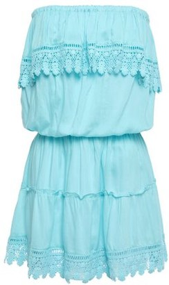 Melissa Odabash Layered Guipure Lace-trimmed Voile Mini Dress