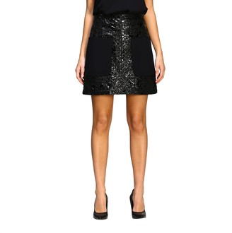 N°21 N 21 Skirt N ° 21 Mini Skirt With Patent Leather Effect And Floral Lace Covering