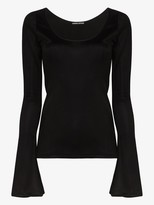 Kwaidan Editions scoop-neck bell-sleeve top