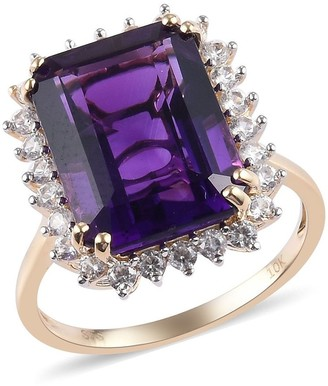 Shop Lc Yellow Gold Amethyst Zircon Cocktail Ring Ct 13.25