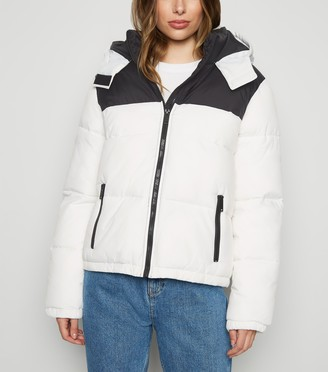 New Look Colour Block Hooded Puffer Jacket