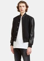 Saint Laurent Men's Star Collared Teddy Bomber Jacket In Black