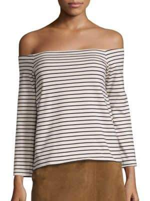 Theory Aprine Cotton Striped Off-The-Shoulder Top
