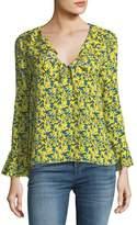 Tanya Taylor Staci Tulip-Print Silk V-Neck Long-Sleeve Blouse