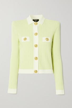 Balmain Cropped Button-embellished Jacquard-knit Blazer - Yellow