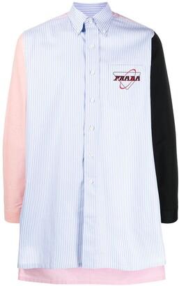 Prada Panelled Striped Long Shirt