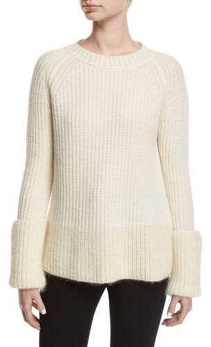 Moncler Wide Gauge Crew-Neck Sweater, White