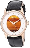 Mido Baroncelli Wild Stone Yellow Gold PVD and Black Leather Strap - M0352073647100 (Tiger Eye) Watches