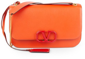 Valentino Logo Leather Flap-Top Crossbody Bag