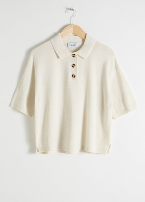 And other stories Textured Cotton Blend Polo Top