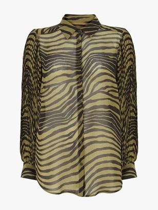 Mint Velvet Rey Animal Print Shirt - Dark Green