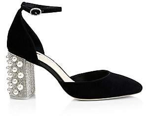 Sophia Webster Women's Toni Embellished Block-Heel Suede d'Orsay Pumps