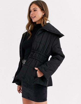 ASOS DESIGN ruched waist puffer jacket in black