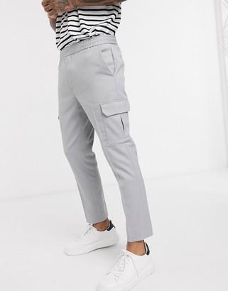 Topman cargo trousers in grey