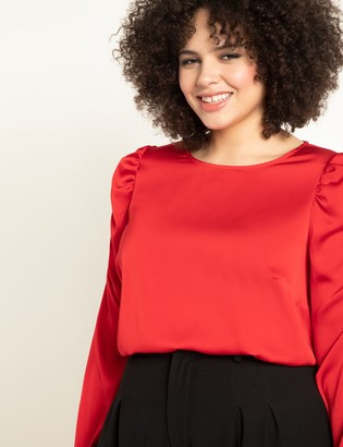 ELOQUII Long Sleeve Top with Puff Shoulders