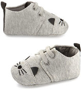 Karl Lagerfeld Cotton Jersey Cat Booties, Gray, Infant