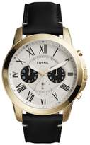 Fossil Men's Grant Chronograph Leather Strap Watch, 44Mm