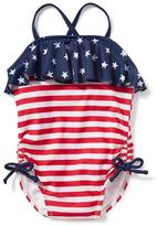 Old Navy July 4th Ruffle Swimsuit for Toddler Girls