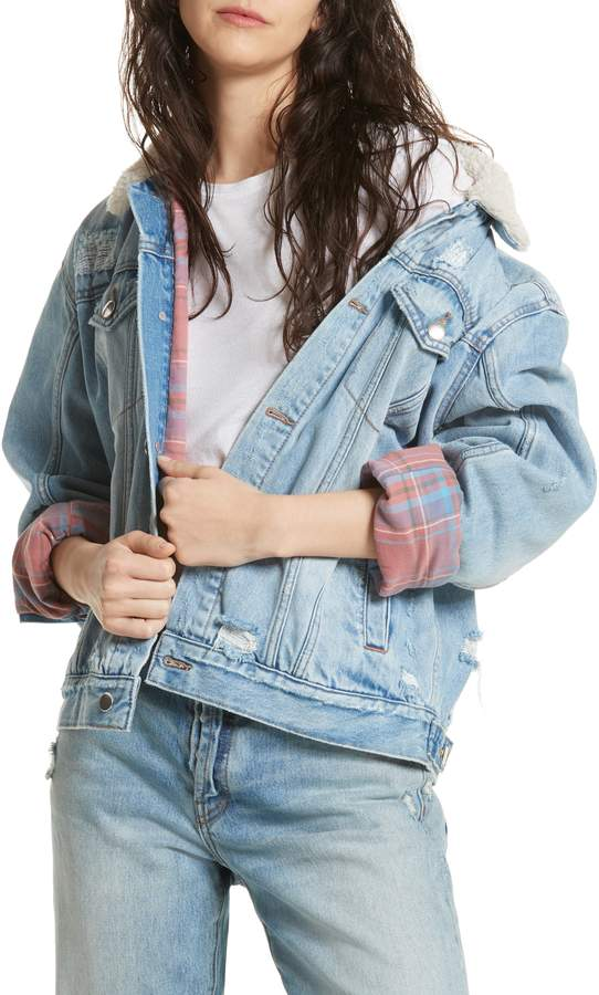 Free People Flannel Lined Trucker Jacket with Faux Shearling Collar