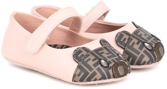 Fendi Baby Bear Toe leather ballet flats